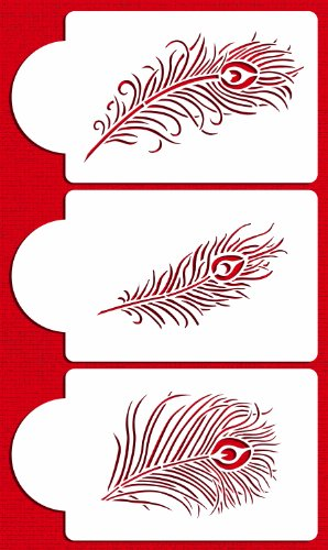 Designer Stencils C723 Peacock Feather Cake Stencil Set, Beige/semi-transparent