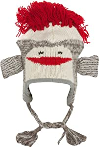 Sakkas Unisex Adorable Animal Face Knit Hats / Earflap Beanie - RedSock Monkey