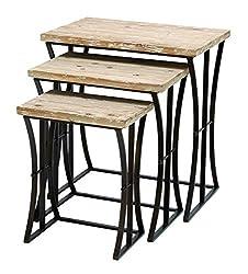 Metal Wood Nesting Table Set/3 26