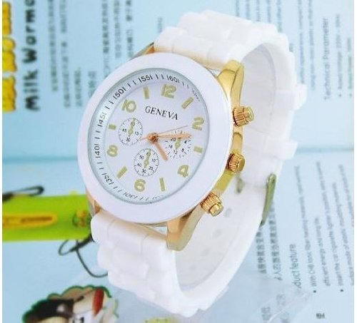 Sports Silicone Jelly Quartz Watch 12 Colors For Women And Men, White