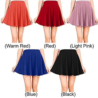 Women's Basic Solid Versatile Stretchy Plain Flared Casual Mini Skater Skirt