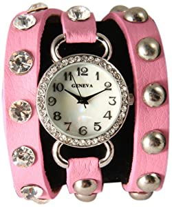 Medium Pink Wrap Around Watch with Bling Sparkly White Rhinestones and Studs.