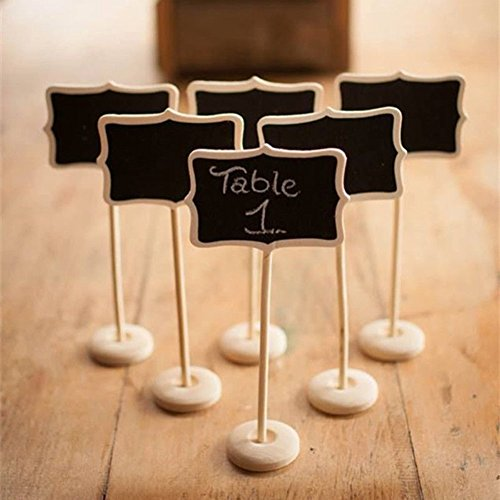 Worldoor® Mini Retangle Chalkboard Blackboard Stand Wedding Lolly Party Table Numbers Place Card Favor /Mini Chalkboard Blackboards On Stick Stand Place Holder Wedding Event Party Decorations (Pack of 6) - 1