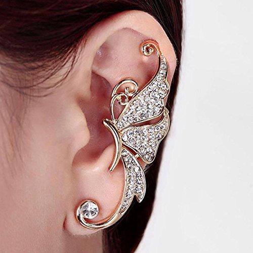 tysum (TM)-cristallo farfalla ali orecchio clip morsetto orecchino moda gioielli 8, White