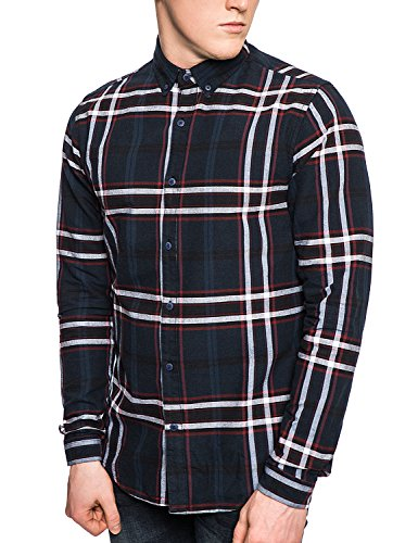 only-sons-check-shirt-mens-casual-button-shirt-red-xxl-dak-navy