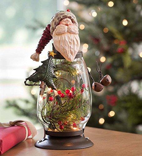 Lighted Santa Glass Holiday Lantern