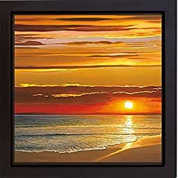 Sunset on the Sea by Dan Werner Premium Gallery-Wrapped Canvas Giclee with Black Floater Framing (Ready-to-Hang)
