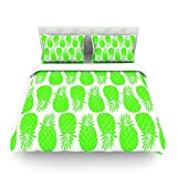 """Kess InHouse Anchobee """"Pinya Neon Green"""" Lime Pattern Cotton Duvet Cover, 88 by 104-Inch"""