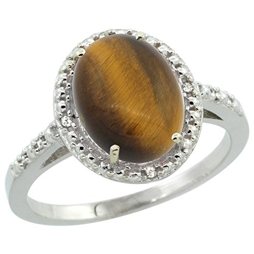 Sterling Silver Diamond Natural Tiger Eye Ring Oval 10x8 mm, size 7.5