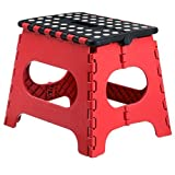 Home-it Super quality Folding Step Stool great for kids and adults 11 Inches. Red - Black, holds up to 300 LBS