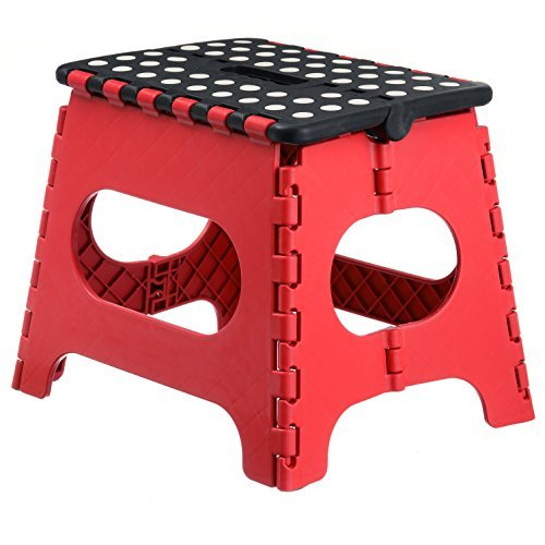 Home-it Super quality Folding Step Stool great for kids and adults 11 Inches. Red - Black, holds up to 300 LBS - 1