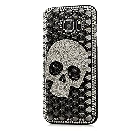 Samsung Galaxy S6 Active Case, STENES Luxurious Crystal 3D Handmade Sparkle Diamond Rhinestone Clear Cover with Retro Bowknot Anti Dust Plug - Punk Big Skull / Black