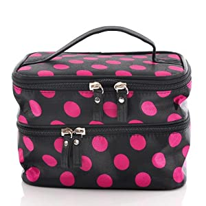 Housweety Unique Dots Pattern Double Layer Cosmetic Bag Black