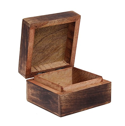 Mothers Day Gift Hand Carved Wooden Trinket Keepsake Box with Floral Patterns in Rustic Finish, 4 x 4 x 2.5 inches