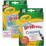 Crayola Large Dry Erase Regular and Neon Crayons, Set of 16