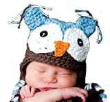 LadyMYP Handmade Knitted cap Baby cap Childrens Hat Hats 100 Wool Hat Eagle owl Blue Brown