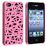 NiceEshop(TM) Pink Interwove Line Bird's Nest style slim Snap on Hard cover case fit for iphone 4 4G 4S+Free Screen Protector +Free niceEshop Cable Tie