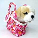 Brigamo Spiele 9843 - Plüsch Hund oder Katze im Handtäschchen, 21 cm (Golden Retriever im rosa Täschchen) thumbnail