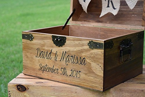 Personalized Wedding Card Box with Engraved Name and Date and – Wedding Card Holder Boxes