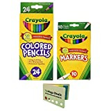 Crayola Classic Fine Line Markers Assorted Colors 10 Count |Crayola Colored Pencil 24 Count Each| Includes 5 Color Flag Set (Tamaño: Bundle)