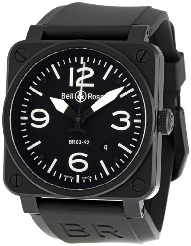 Bell & Ross Men's BR-03-92-CARBON Aviation Black Dial Watch Watch