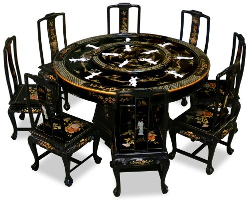 Chairs Black Lacquer Mother Of Pearl Design Dining Table For 8