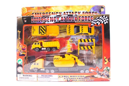 Die Cast Metal Construction Emergency Attack Force Play Set - 1