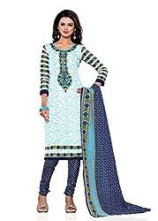 Vishu Inc Women's Cotton Printed Unstitched Regular Wear Dress Material(VI-1003-White-Free Size)