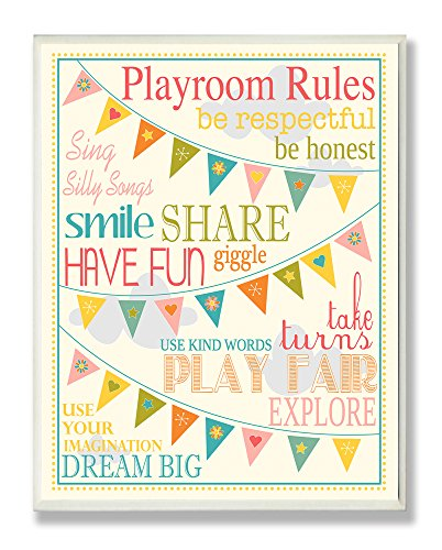 The Kids Room by Stupell Playroom Rules with Pennants in Pink Rectangle Wall Plaque