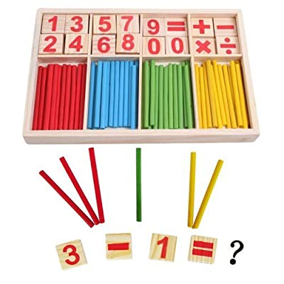 4 X Wooden Number Cards and Counting Rods with Box