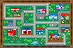 Kids Area Rug Street Map Learning Carpet Play Time Design#03 (6ft6in.X9ft9in.)