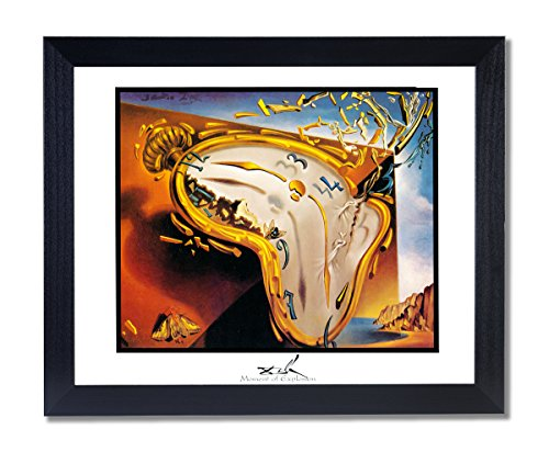 Solid Wood Black Framed Salvador Dali Moment Of Explosion Clock Pictures Art Print (Salvador Dali Pictures compare prices)