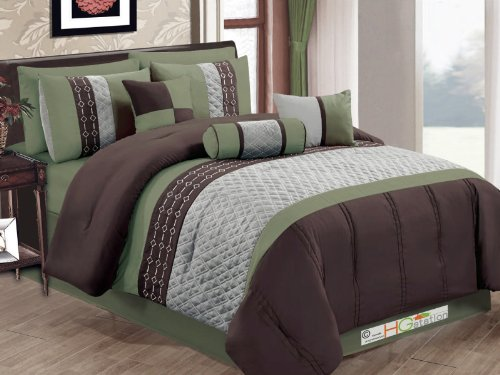 7-Pc Quilted Diamond Embroidery Pintuck Striped Comforter Set Sage Brown Gray King front-991472