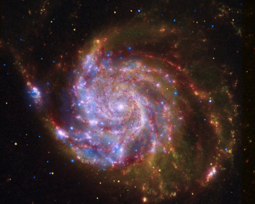 Hubble Space Telescope Poster Photo Spitzer Hubble Chandra Image Of M101 Nasa Posters Photos 11X14