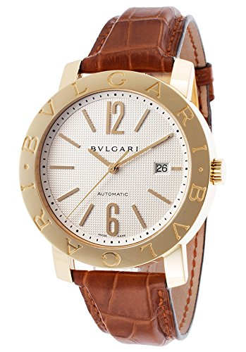 Bulgari Men's Automatic Brown Crocodile Silver-Tone Dial