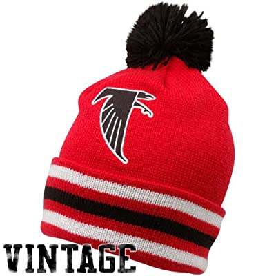 NFL Mitchell & Ness Atlanta Falcons Red-Black Throwback Jersey Striped Cuffed Knit Beanie