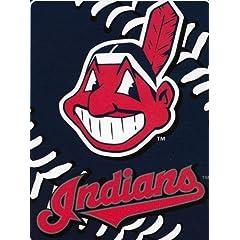 Cleveland Indians BIG STITCHING Raschel PLUSH 60x80 Twin Size Throw Blanket NEW by Northwest