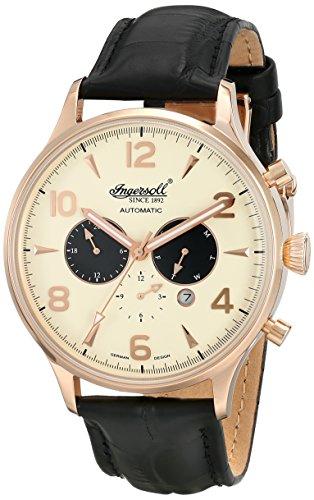 Ingersoll Unisex, colore: giallo-Orologio con cronografo e cinturino in pelle, IN1309RCR colore nero