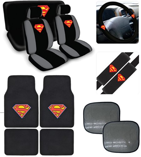 BDKUSA 15pc New Superman Car Seat Covers Set With Heavy Duty Carpet Floor Mats And Bonus