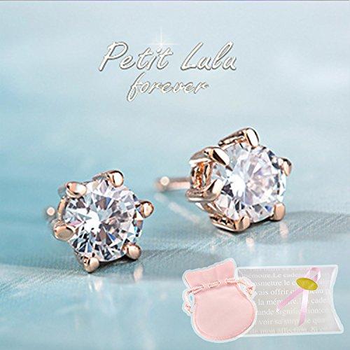 【Petit Lulu shop】ピアス レディース スワロフスキー 一粒 18金RGP 二色展開 プチルルオリジナルピアス3点セット