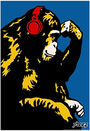 Monkey Thinker with Red Headphones Poster