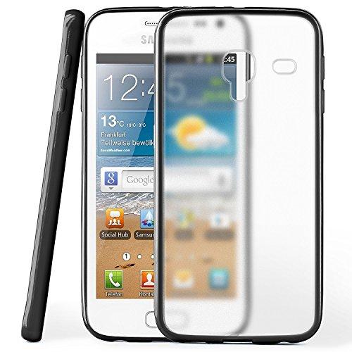 Cover di protezione Samsung Galaxy Ace 2 Custodia Case silicone sottile 1,5mm TPU | Accessori Cover cellulare protezione | Custodia cellulare Paraurti Cover Traslucida Trasparente DEEP-BLACK