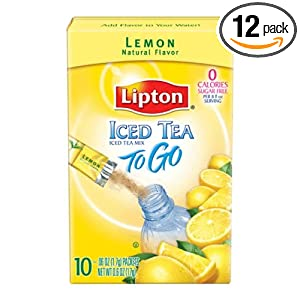 Lipton Iced Tea To Go, Lemon, 10-Count Boxes (Pack of 12)