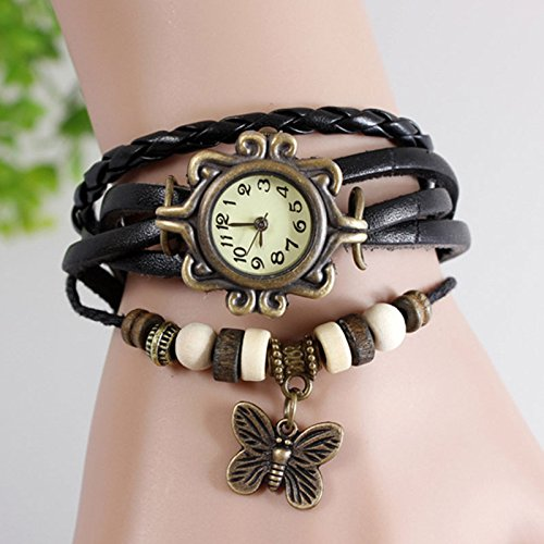 Mo2Mo@Classic Elegant Brown Leather Strap Butterfly Roma Number Dial Quartz Woman Ladies Watch Bracelet (Black)