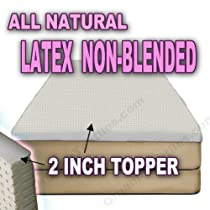 Hot Sale All Natural Latex Non Blended EXTRA FIRM Mattress Topper 2 inch thick - FULL