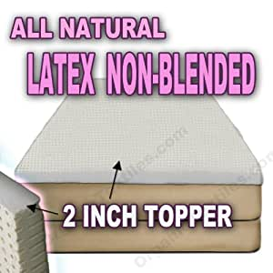 All Natural Latex Non Blended EXTRA FIRM Mattress Topper 2 inch thick (TwinXL Organic Cotton Covered)