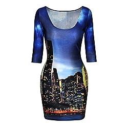 Jiayiqi Women's Bodycon Dress Middle Length Sleeves Bodycon Ball Casual Dress
