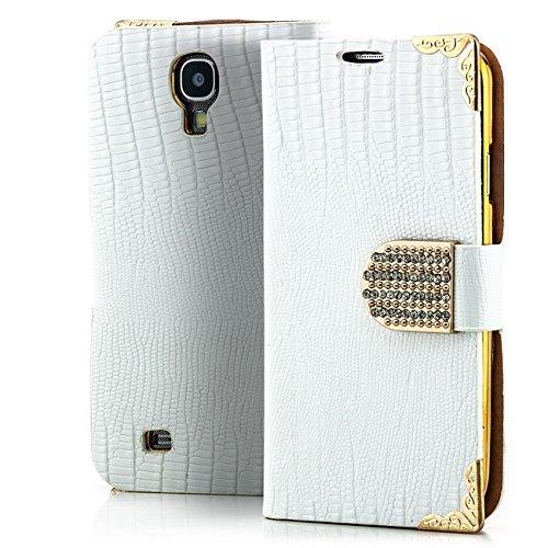 Saxonia. Schutztasche Hülle Case Gold-Edition für Samsung Galaxy S4 i9500 mit Magnetverschluss / seitlich aufklappbar / Book-Style Farbe: weiß