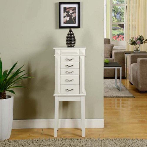 Nathan Direct Granada Jewelry Armoire - White, Heather-Gray, Mdf front-806895
