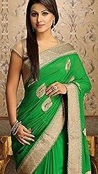 Shree fashion women's Top Fabrics semi stitched green GEORGETTE saree
